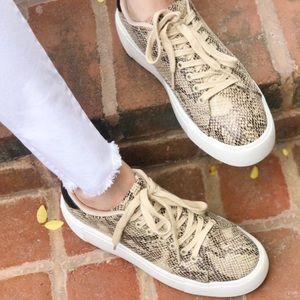 Birdie Snakeskin Wedge Platform Sneakers